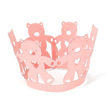 50pcs Cute Teddy Bear Cupcake Wrappers Paper Cake Cupcake Baking Cups Cases Case Wedding Decoration(Pink)