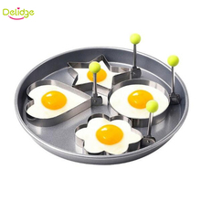 Delidge 4pcs/set Egg Mold Stainless Steel Star Flower Heart Circular Shapes Pancake Egg Rings Omelette Egg Mold Breakfast Tools