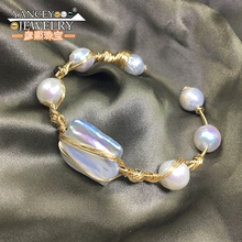 2017 New popular elements Original design Natural Baroque pearl bracelet women Fine jewelry with 9k gold hand-woven production