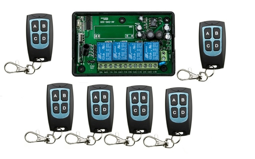 AC110V 220V 4CH RF Wireless Remote Control System / Radio Switch remote switch 220V Learning code receiver+ 6 remote controller<br>