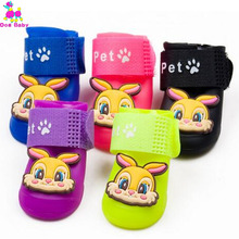 DOGBABY Best Sell Colorful Dog Pet Boots PU Rubber Water Protective Pet Shoes 4pcs/set  Dog Shoes 8 Color Available Pet Shoes