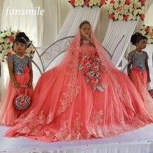 Fansmile Peach Sleeve Vestido De Noiva Lace Wedding Dress 2018 Tulle  Customized Plus Size Wedding Gowns Bridal Dress FSM-473T 53a418b443d0