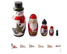 Miniverse Pure Hand-painted Matryoshka dolls 5 Layer Christmas Snowman Santa Claus Picture Wooden Size 15 cm * 5.6 cm Kid Gift