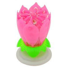 Double Petal Pink Blossom Lotus flower Birthday Music candle Sparkle for cake Velas for Birthday Party Event Decoration(China)