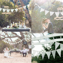 3.3 M Vintage Chic burlap linen lace bunting flags pennant for party wedding garland decoration product supply