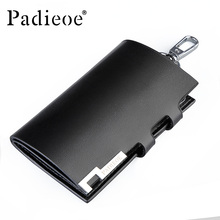 Padieoe 2017 men Split Cow Leather Key Holder Solid Black Housekeeper For Keys High Quality Key Case Unisex(China)