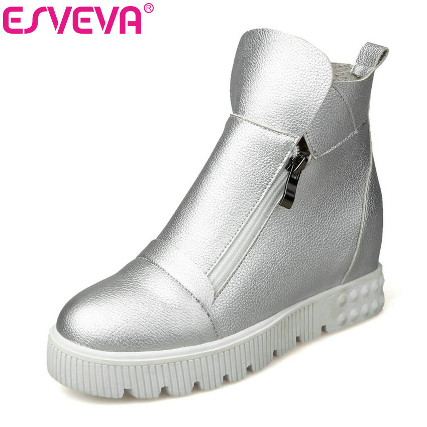 ESVEVA 2018 Women Boots Height Increasing Ankle Boots Wedges High Heel Platform Round Toe Short Plush Ladies Boots Size 34-43<br>