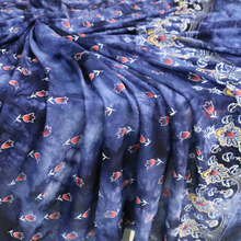 Floral Print Rayon Material Deep Blue Tie-Dyed Viscose Cloth Soft Kids Fabric