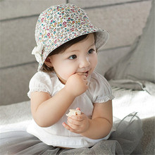 Baby Girls Infant Floral Bowknot Outdoor Two-side Use Cap Summer Beach Hat 4M-2Y