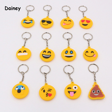 5PCS 3*3cm Smily Anime Keychain Toy Positive And Negative Smily Pendant Keychains Action & Toy Figures High Quality ATF17(China)