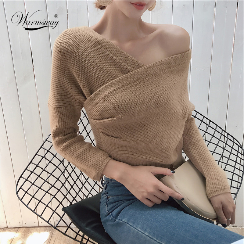 Korean Chic Knitted Jumper Top 2018 Sexy V-neck Off Shoulder Solid Cross Twist Office Lady Cute Sweater Women sueter mujer C-436