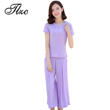 TLZC 2017 New Fashion Women Chiffon Sets Size M-5XL Simple Design Lady Popular Suits Short Sleeve Tops + Wide Leg Pants(China)