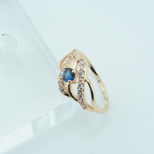 2 Style Women 585 Gold Color Rose Blue Green Stone Cubic Zircon Rings Wedding Party Jewelry