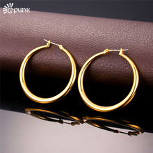 40/60/80mm Women Fashion Hoop Earrings Gold Filled Wholesale Jewelry 316L Stainless Steel Never Circle Hip Hop Earrings E236G(China)