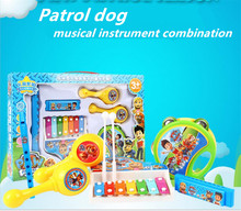 8pcs/set Dog patrol children's musical instruments educational combined piano puzzle toys beat baby toys