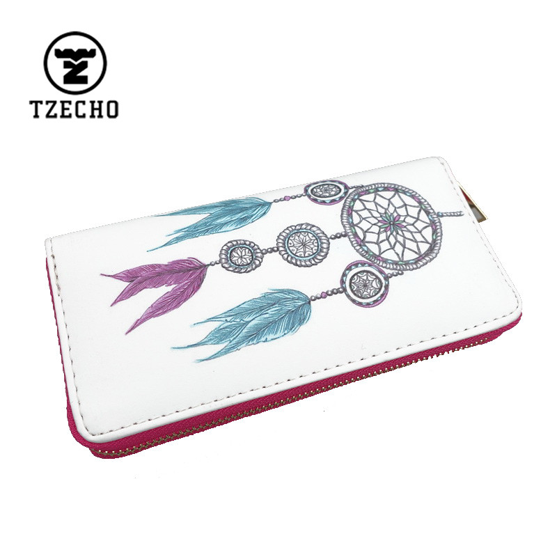 Spring Hot Zip-Around Womens Wallets Leather Print Dream Catcher Ladies Long Money Purses And Coin Pocket Card Holder Clutch Bag<br><br>Aliexpress
