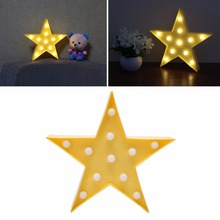 2017 NEW 3D Marquee Lamp With 11LED Battery Operated Night Light Warm-White Yellow Stars APR29_20