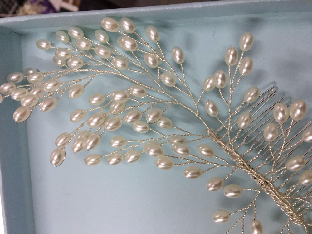 2018 New Luxurious Bride Hair Accessories 100% Handmade Pearl Wedding Hair Jewelry Party Pom Bridal Starry Hair Comb Pearl Tiara 8