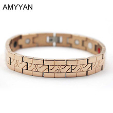Real Rose Gold Plating V Care Blood Pressure Magnetic Bracelet Negative Ion Germanium Energy Bracelet for Women&Men