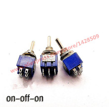 5 Pcs  ON-OFF-ON 6 Pin Mini  Miniature Latching Toggle Switch MTS203 3A/250V 6A/125V