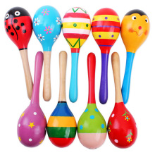 Colorful Kids Wooden Ball Rattle Toy Sand Hammer Rattle Learning Musical Instrument Percussion for Baby 0-12 Month