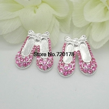 25x22mm Pink Ballet Shoe Rhinestone button shank Rhinestone Embellishment Wholesale 30pcs RMM139