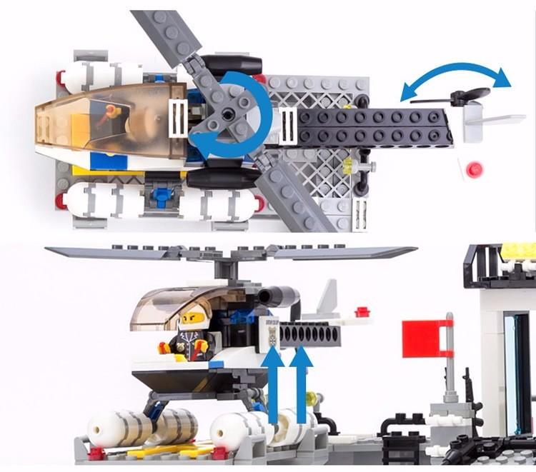 KAZI 6726 Police Station Building Blocks Helicopter Boat Model Bricks Toys Compatible LegoINGlys Blocks Toys For Children Gift 6