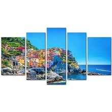 5 Pieces Modern Canvas Painting Wall Art Traditional Port Mediterranean Sea Cinque Terre Italy Coast Landscape Print On Canvas(China)