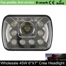 Truck Led Lighting H4 Hi/ Low Beam Square 7 InchTruck Projector Hi / Low HID LED Front Driving Headlamp Head Light For Off road