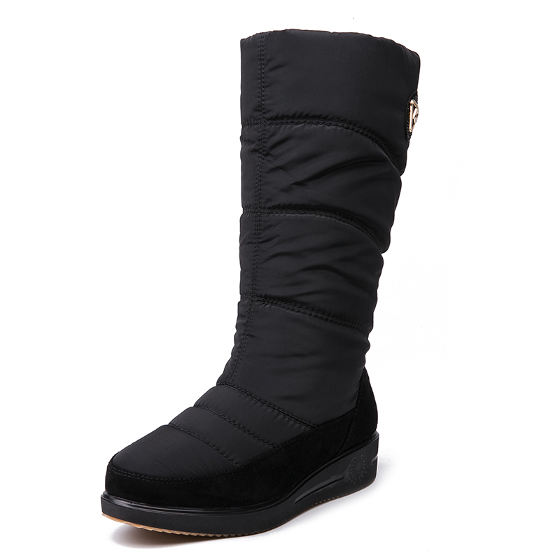 IMG_3948AIMEIGAO New Arrival Warm Fur Snow Boots Women Plush Insole Waterproof Boots Platform Heels Mid-calf Black Boots High Quality
