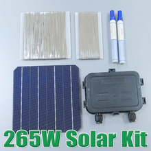 hot sale 265W DIY Solar Panel Kit 6x6 156 Monocrystalline Mono solar cell tab wire Bus wire Flux pen Junction Box WY(China)