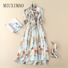 2018 High Quality Spring Latest New Arrival Casual Style O-Neck Half Sleeve Flower Print Elegant Floor-Length Long Dress Women(China)