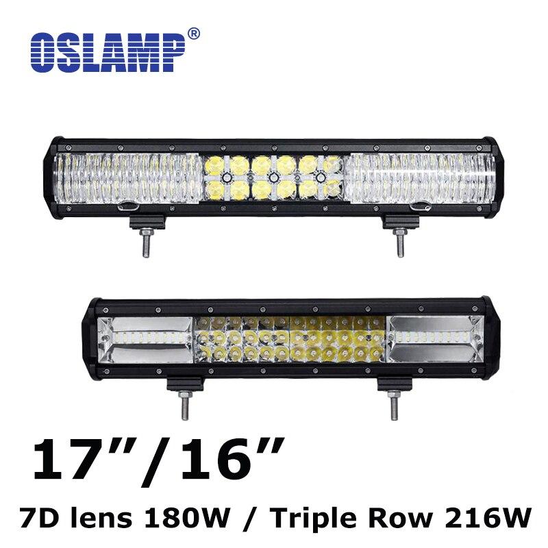 Oslamp 16inch/17 Combo Offroad LED Light Bar 180W/216W Pickup LED Driving Lamp ATV RZR SUV Car Truck 12v 24v CREE Chips Led Bar<br><br>Aliexpress
