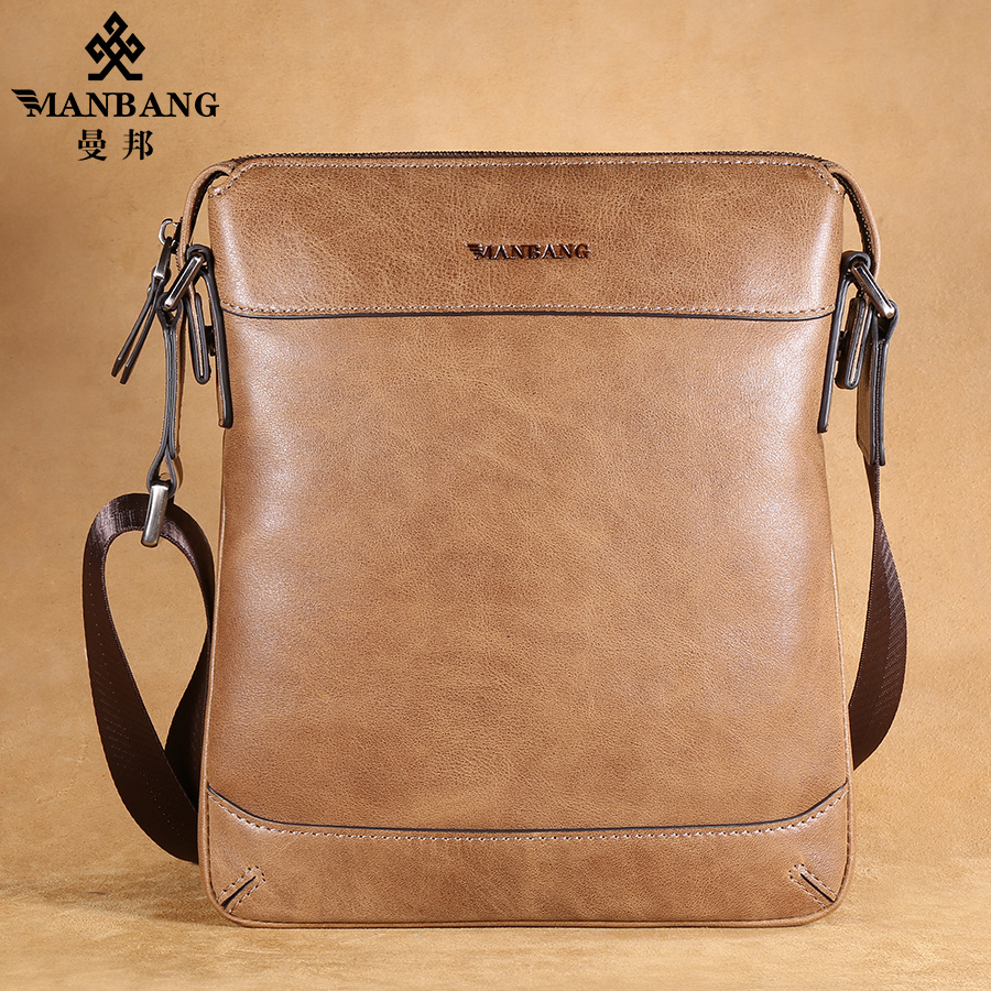 2017 Brand leather shoulder bag man Messenger bag vertical section  Korean version casual leather business Khaki bag MBJ1523K<br><br>Aliexpress