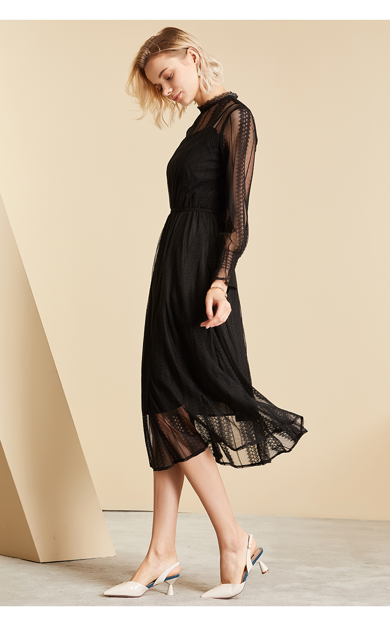 Vimly Elegant Mesh Lace Embroider Women Dress Stand-Neck Flare Sleeve Party Dresses Sexy Midi Elastic Waist Hollow Out Dress 15