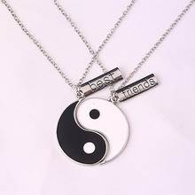 Romantic Eight Diagrams Tai Chi Black and White best friends pendant necklace BFF yin yang necklace friendship top jewelry