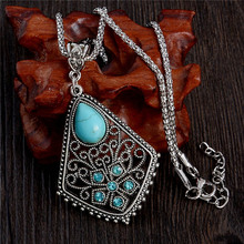 SHUANGR Special Designed Bohemia Pendant Necklace Silver Color Vintage Retro Style Necklace Gift for Women Jewelry(China)