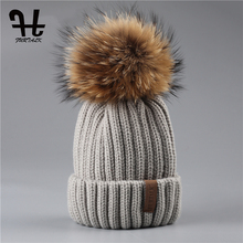 FURTALK Real Unisex Kids Ages 4-12 Raccoon Fur Ball Winter Hat Knitted Pom Pom Cap kids Beanie Hat