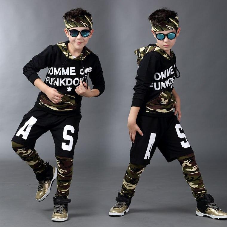 2016 children clothing set Autumn kids  suits False two Hip Hop harem pants &amp; Camouflage Patchwork sweatshirt army twinset<br>