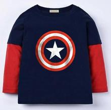 Marvel's The Avengers T shirt superman, batman and spiderman t shirt girls Kids long Sleeve Tops girl T-shirt Tees 100%Cotton