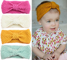 girls kids knit crochet turban headband warm knot headbands hair accessories for children hair head band wrap hairband ornaments(China)