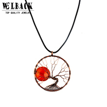 2017 high quality Vintage Rope Chain Bronze Tree Of Life Pendant Necklaces Creative Fluorescence stone Necklace for women(China)