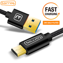 TORRAS Micro USB Cable Gold Plated Fast Charge USB Cable Charging Nylon Braided Data Cable For Samsung S7 Android Phone Charger(China)
