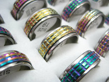 wholesale bulk lot 20pcs Etching colorful stainless steel spinner rings(China)