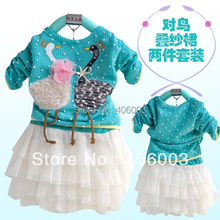 2012 New spring child one-piece dress long-sleeve baby swan girl dress