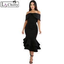 Buy La Chilly Woman Autumn 2017 Vestido Elegant Party Dresses Black Bow Cape Ruffle Mermaid Bodycon Shoulder Fall Dress LC61747 for $24.53 in AliExpress store