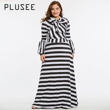 Buy Plusee Dress Plus Size 4XL 5XL Women 2018 Summer Expansion O-Neck Lantern Sleeve Bowknot Zipper Stripe Color Block Dress for $25.87 in AliExpress store