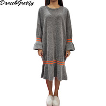Women Chic Knitting Sweater Dress New Autumn Lady Long Sleeve Knitted Mermaid Dresses
