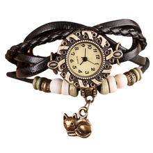 2016 Women Quartz Weave Around Wrist Watches Female PU Leather Cat Bracelet Lady reloj mujer kol saati Good-looking JUL 26