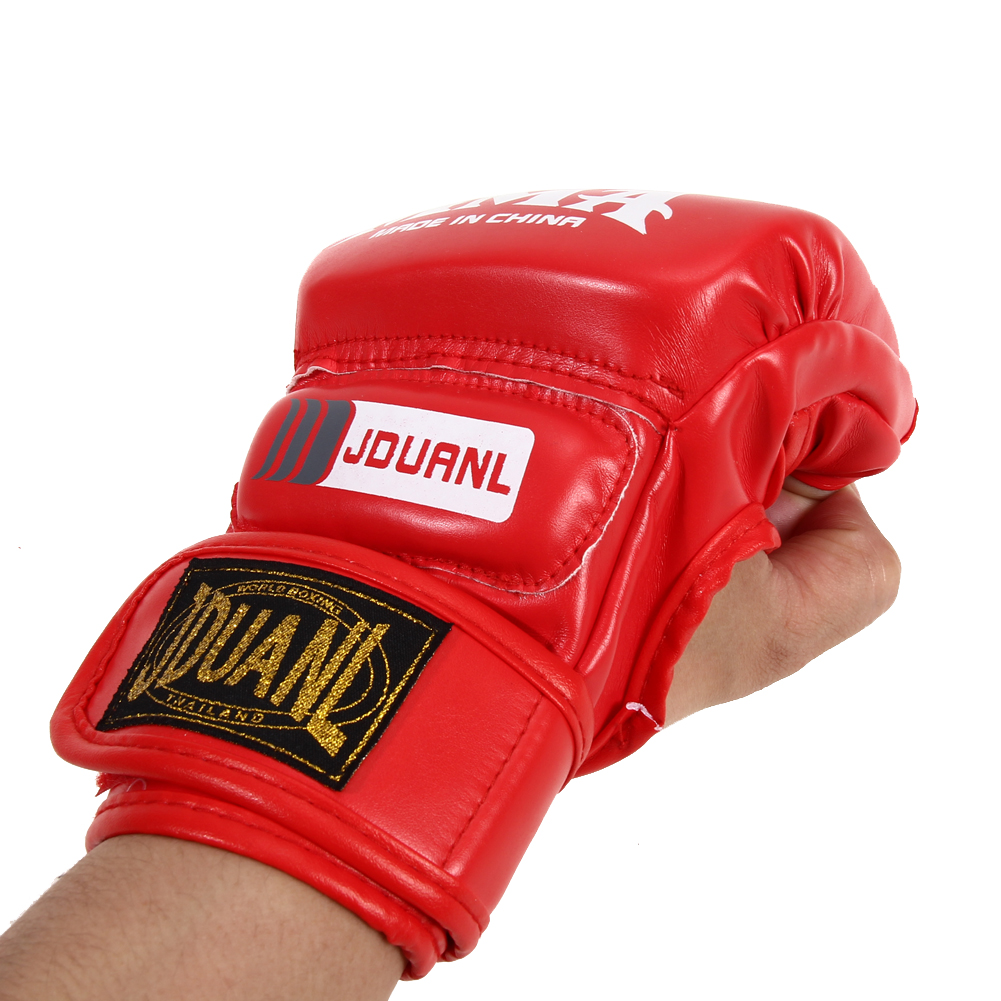 Boxing Gloves MMA Gloves Muay Thai Training Gloves MMA Boxer Fight Boxing Equipment Half Mitts PU Leather Black/Red 16